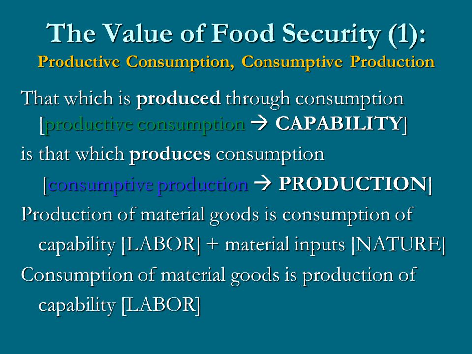 The Value of Food Security (1): Productive Consumption, Consumptive Production That which is produced through consumption [productive consumption  CAPABILITY] is that which produces consumption [consumptive production  PRODUCTION] [consumptive production  PRODUCTION] Production of material goods is consumption of capability [LABOR] + material inputs [NATURE] Consumption of material goods is production of capability [LABOR]