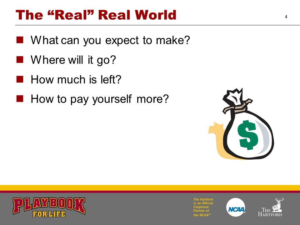 """4 The """"Real"""" Real World What can you expect to make? Where will it go? How much is left? How to pay yourself more?"""