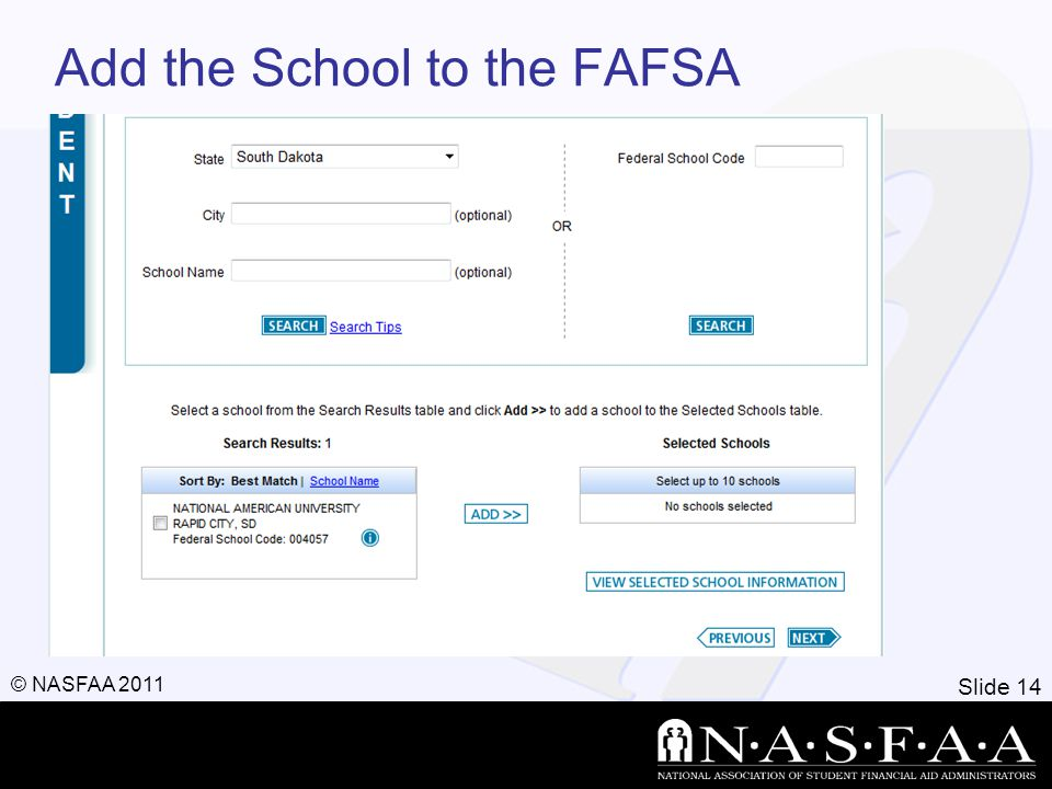Slide 14 © NASFAA 2011 Add the School to the FAFSA