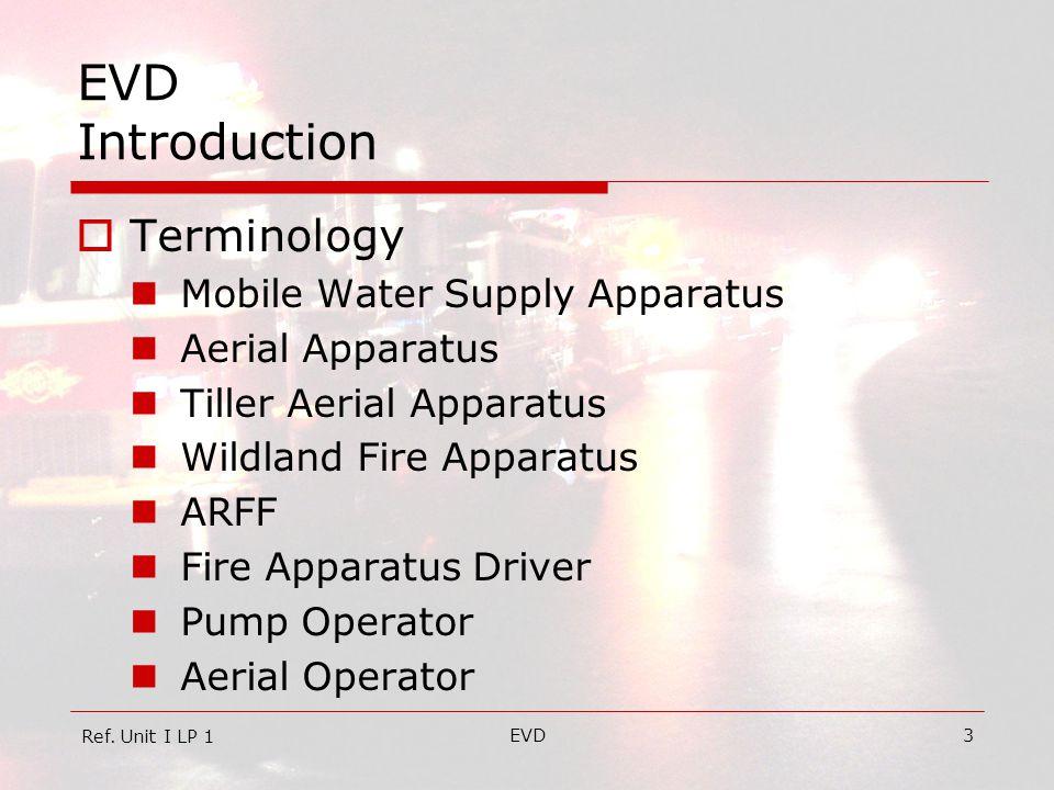 EVD4 EVD Introduction  Terminology Tiller Operator Fire Pump Attack Pump Pumping System Foam System Aerial Device Liquid Surge Ref.