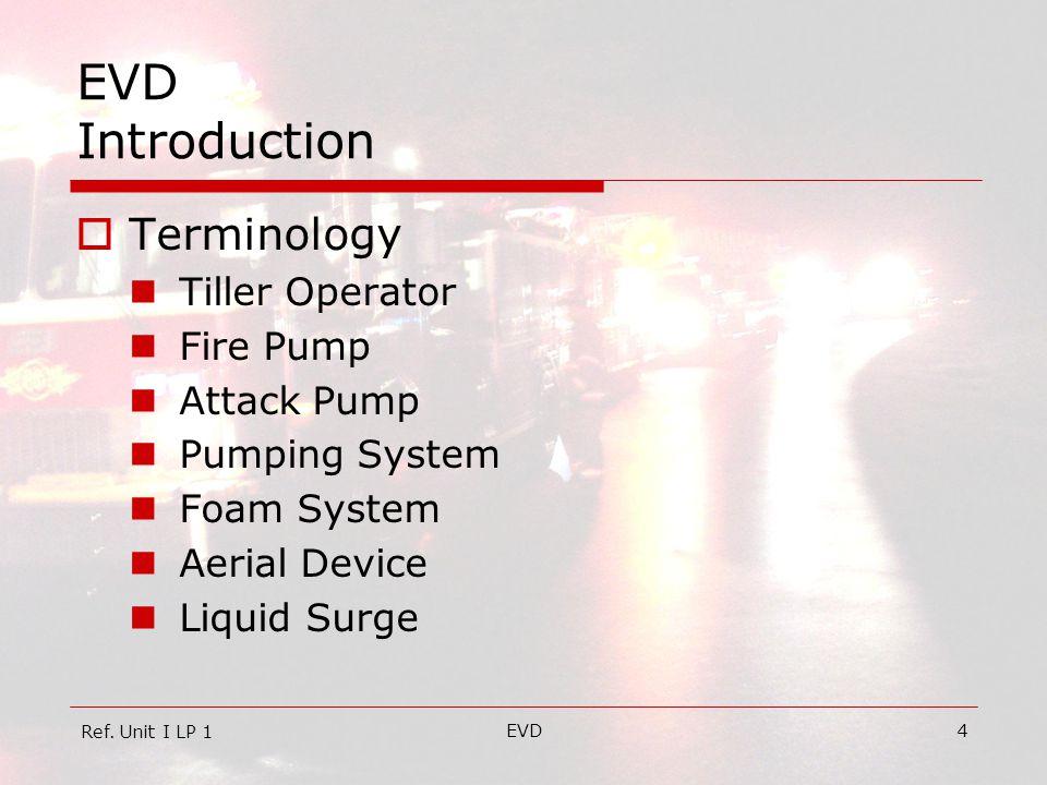 EVD4 EVD Introduction  Terminology Tiller Operator Fire Pump Attack Pump Pumping System Foam System Aerial Device Liquid Surge Ref. Unit I LP 1