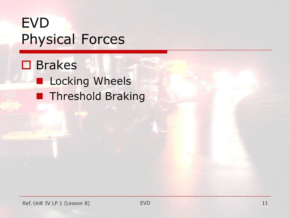 EVD11 EVD Physical Forces  Brakes Locking Wheels Threshold Braking Ref. Unit IV LP 1 (Lesson 8)