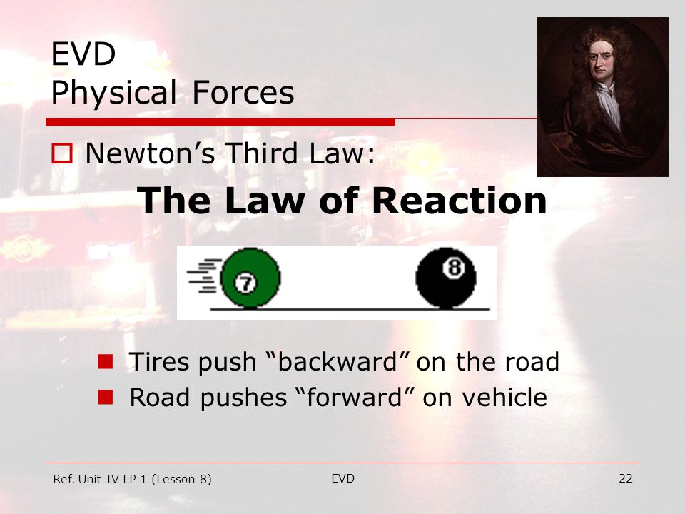 EVD22 EVD Physical Forces  Newton's Third Law: The Law of Reaction Ref.