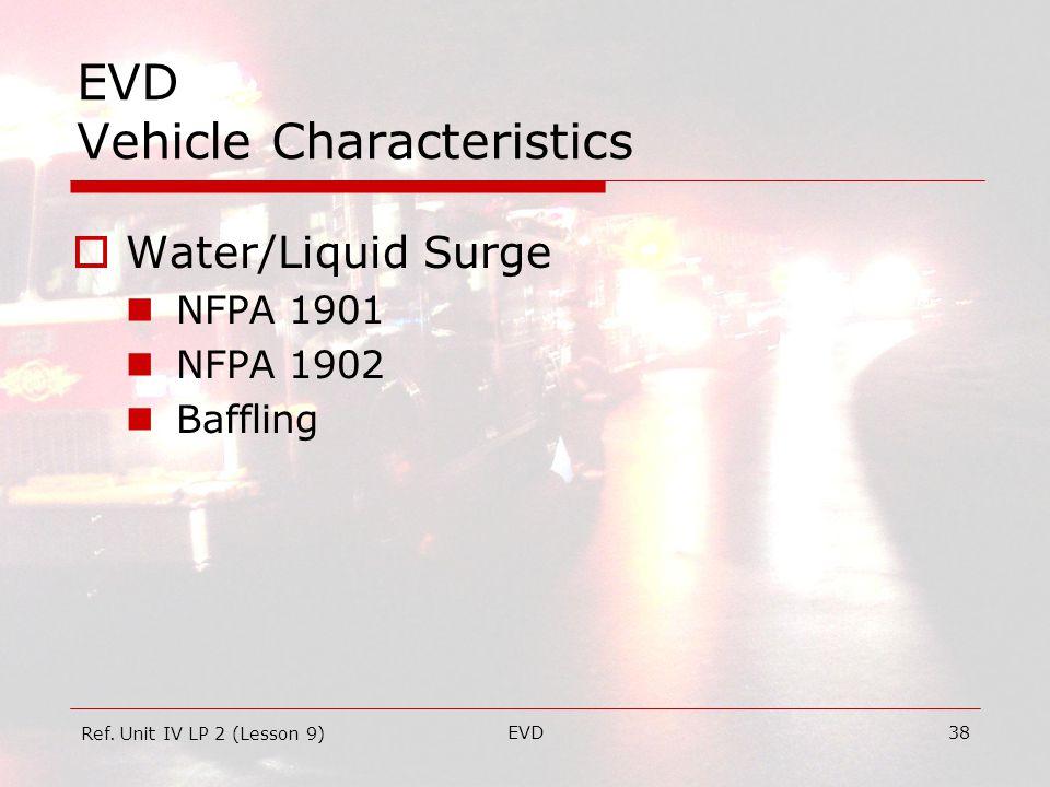 EVD38 EVD Vehicle Characteristics  Water/Liquid Surge NFPA 1901 NFPA 1902 Baffling Ref.