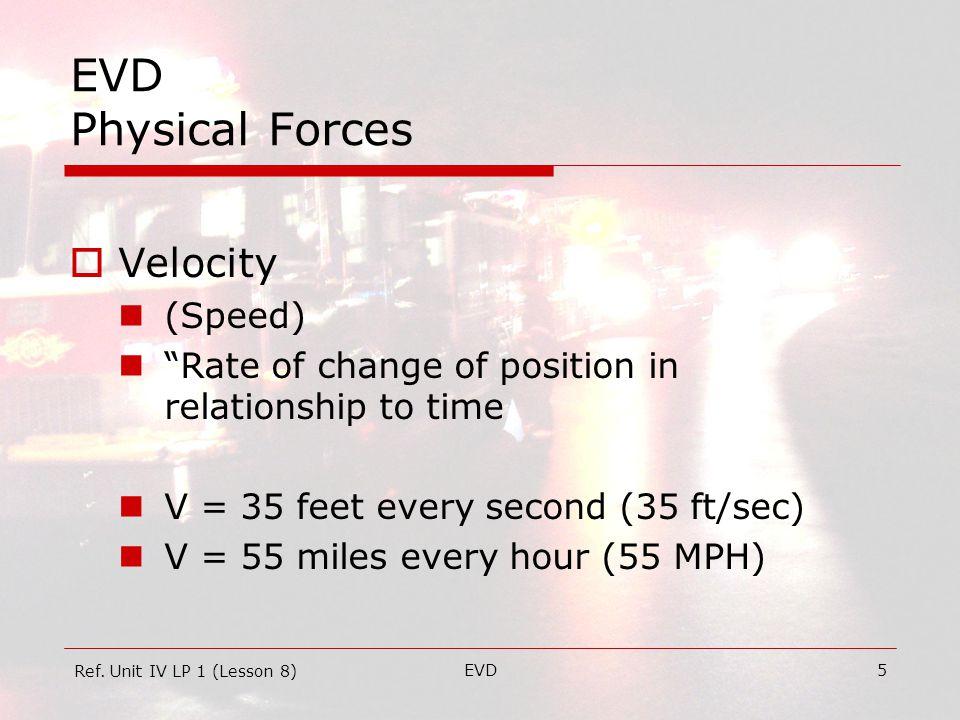 EVD6 EVD Physical Forces  Velocity Control Acceleration  + Acceleration Deceleration  - Acceleration  (Coasting) Braking  Deceleration using Friction Ref.
