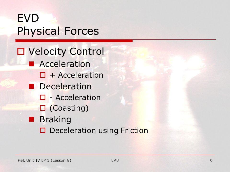 EVD27 EVD Physical Forces  Potential Energy Capability – i.e.