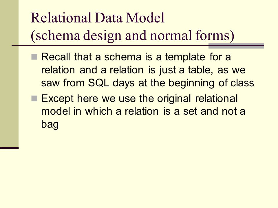 Projection Rehash Given a relation R and its FDs F (A->B = A determine B We can use the FDs to find the keys and superkeys We can talk about a minimal basis of FDs from which we can derive all the others using our inference rules We can use closure to figure out all that the FDs give us to know, given some initial set of knowns But what does this means when it comes to the data in the relation?