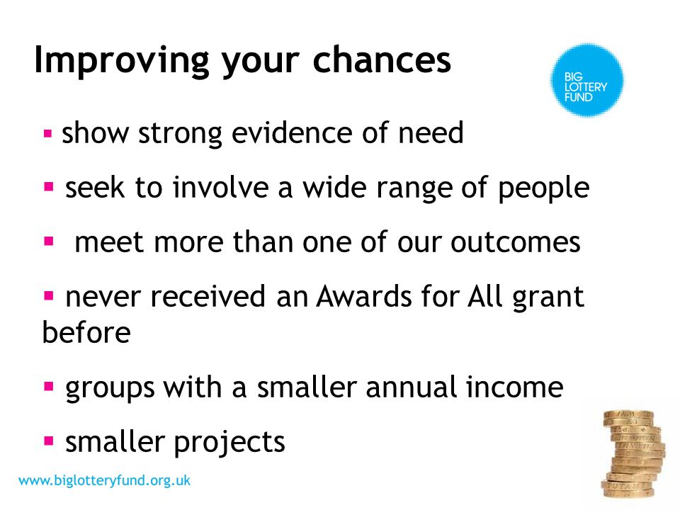Improving your chances  show strong evidence of need  seek to involve a wide range of people  meet more than one of our outcomes  never received an Awards for All grant before  groups with a smaller annual income  smaller projects