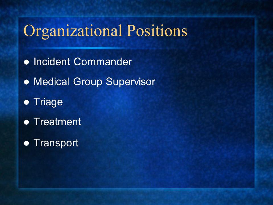 Organizational Positions Incident Commander Medical Group Supervisor Triage Treatment Transport
