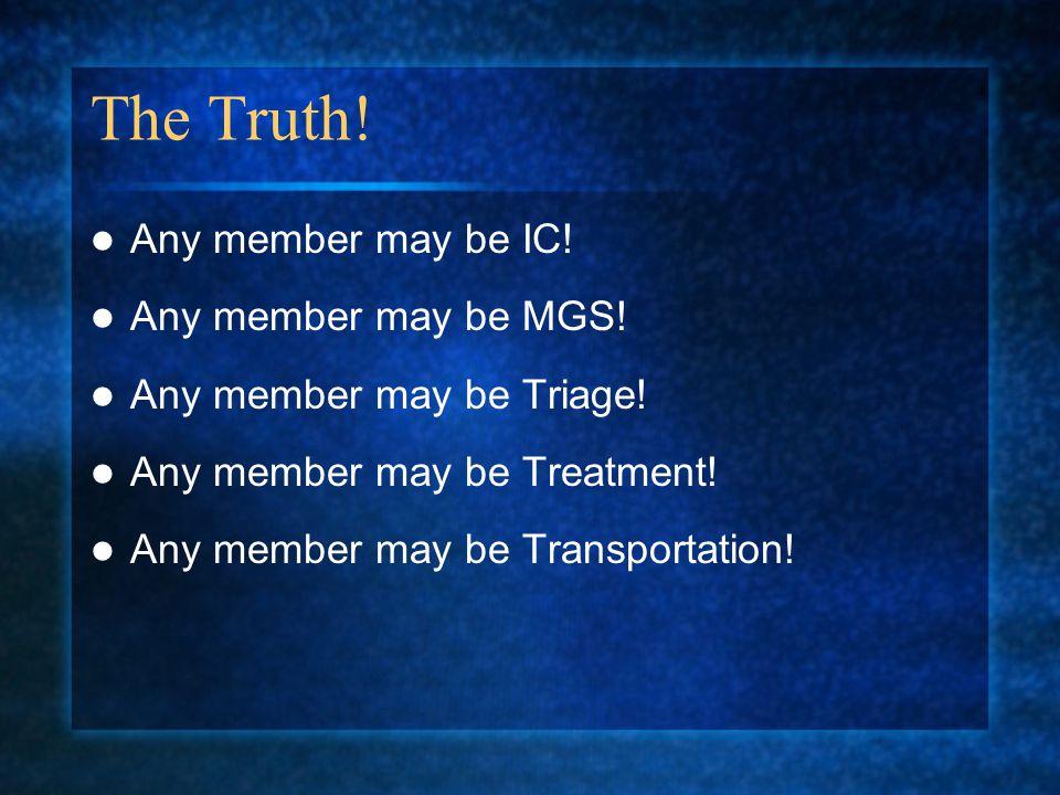 The Truth.Any member may be IC. Any member may be MGS.