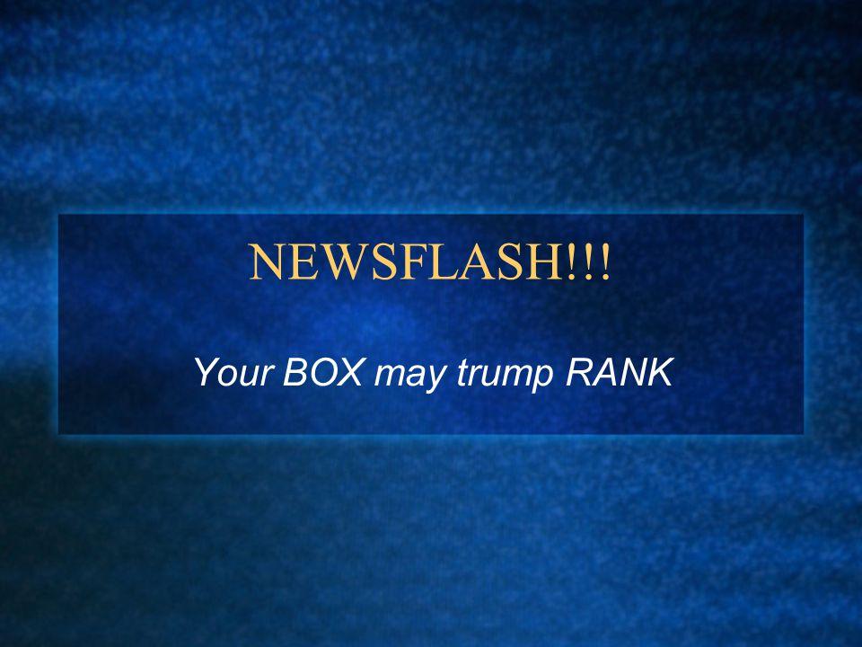 NEWSFLASH!!! Your BOX may trump RANK