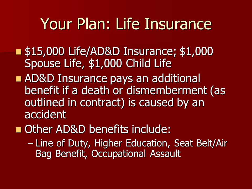 Your Plan: Life Insurance $15,000 Life/AD&D Insurance; $1,000 Spouse Life, $1,000 Child Life $15,000 Life/AD&D Insurance; $1,000 Spouse Life, $1,000 Child Life AD&D Insurance pays an additional benefit if a death or dismemberment (as outlined in contract) is caused by an accident AD&D Insurance pays an additional benefit if a death or dismemberment (as outlined in contract) is caused by an accident Other AD&D benefits include: Other AD&D benefits include: –Line of Duty, Higher Education, Seat Belt/Air Bag Benefit, Occupational Assault
