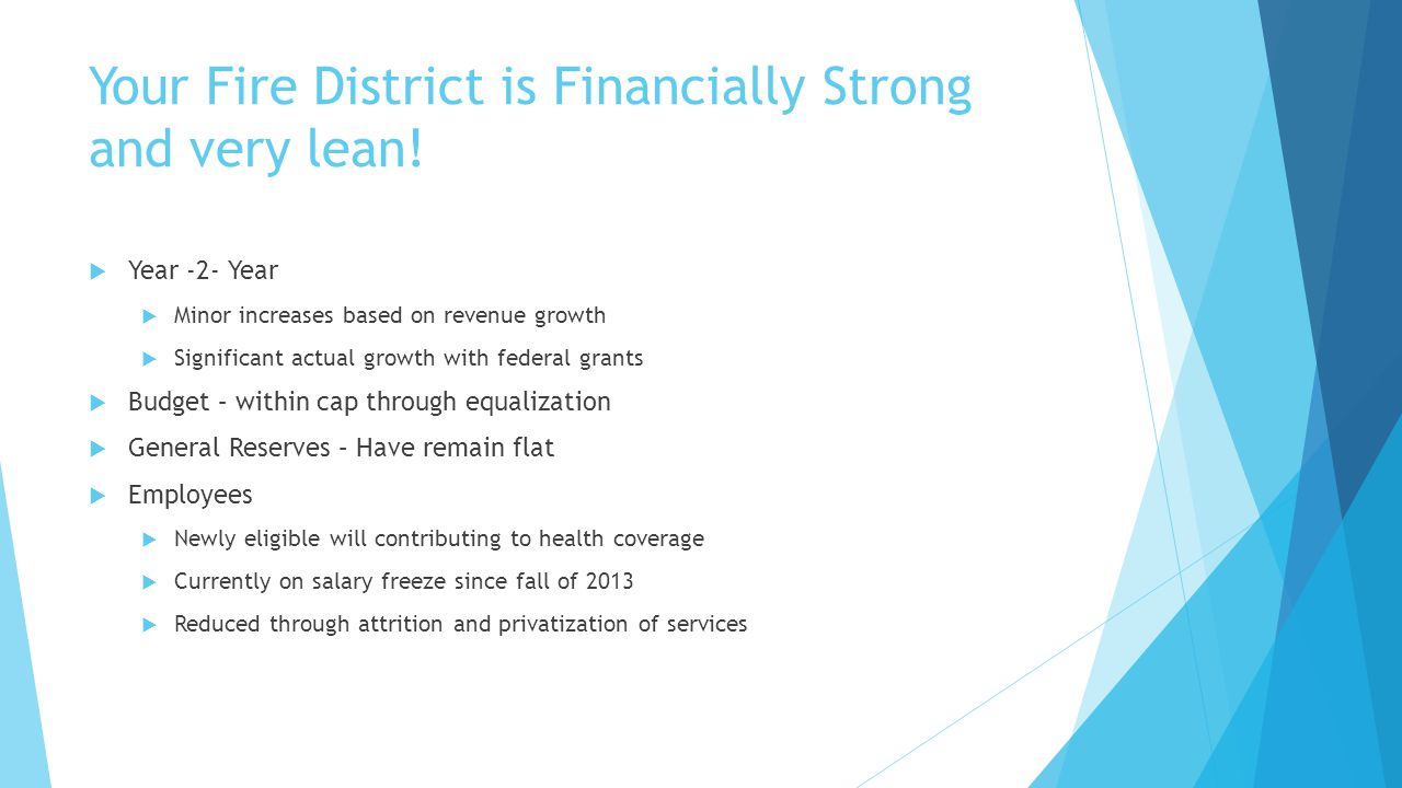 Your Fire District is Financially Strong and very lean.