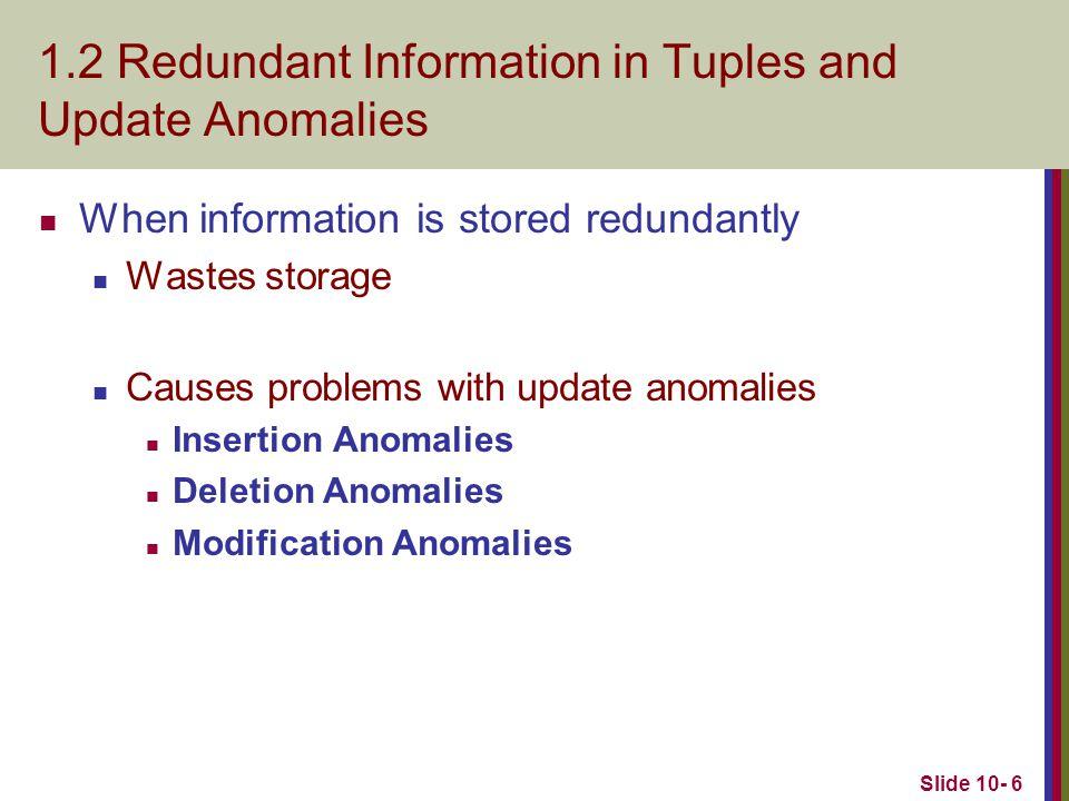 Slide 10- 7 Two relation schemas suffering from update anomalies