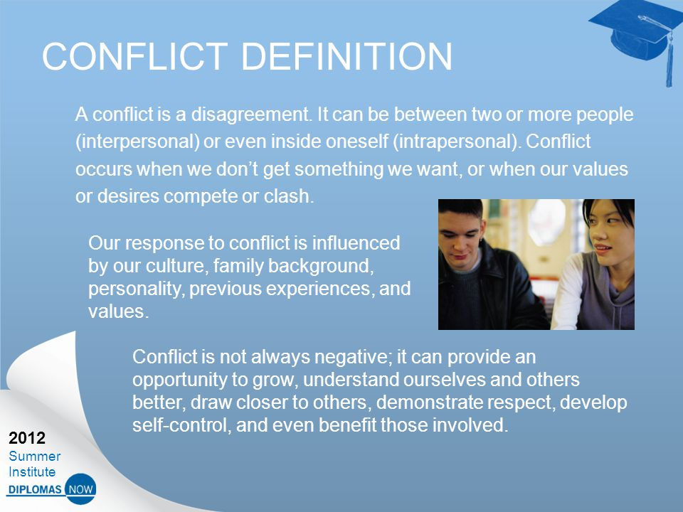 2012 Summer Institute CONFLICT DEFINITION A conflict is a disagreement.