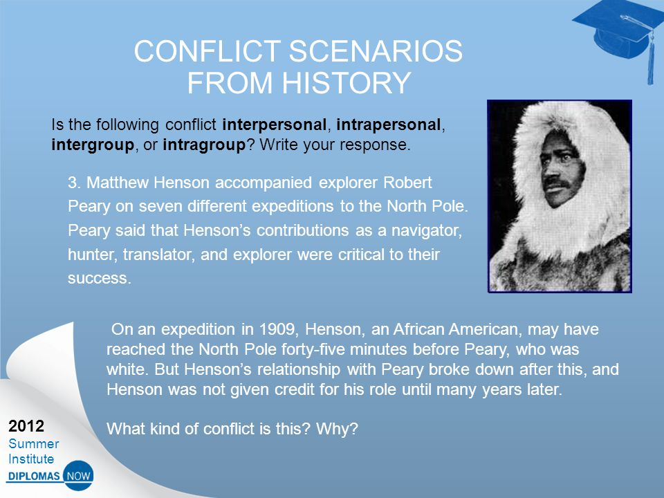 2012 Summer Institute CONFLICT SCENARIOS FROM HISTORY 3.