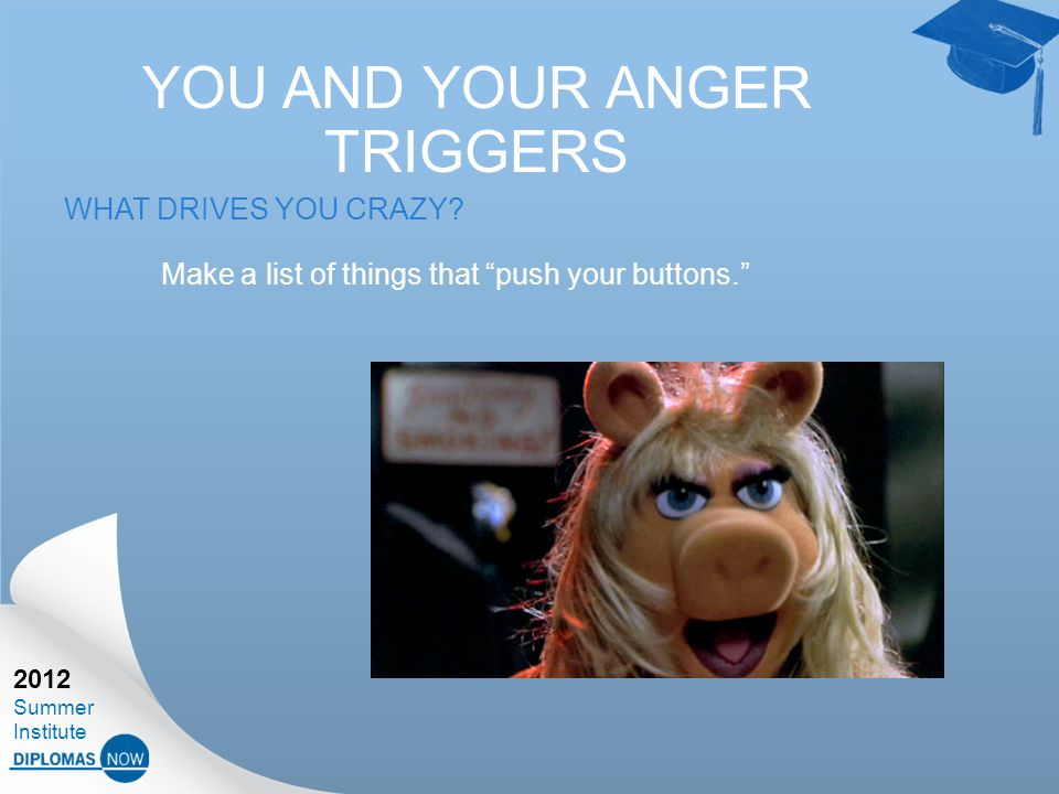 2012 Summer Institute YOU AND YOUR ANGER TRIGGERS WHAT DRIVES YOU CRAZY.