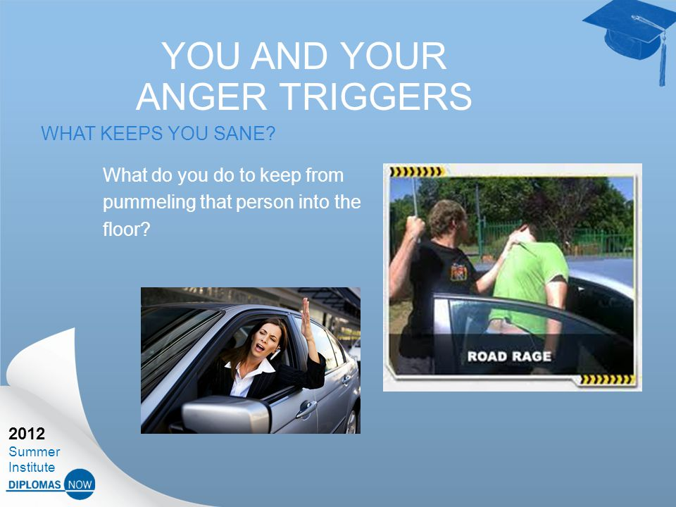 2012 Summer Institute YOU AND YOUR ANGER TRIGGERS WHAT KEEPS YOU SANE.