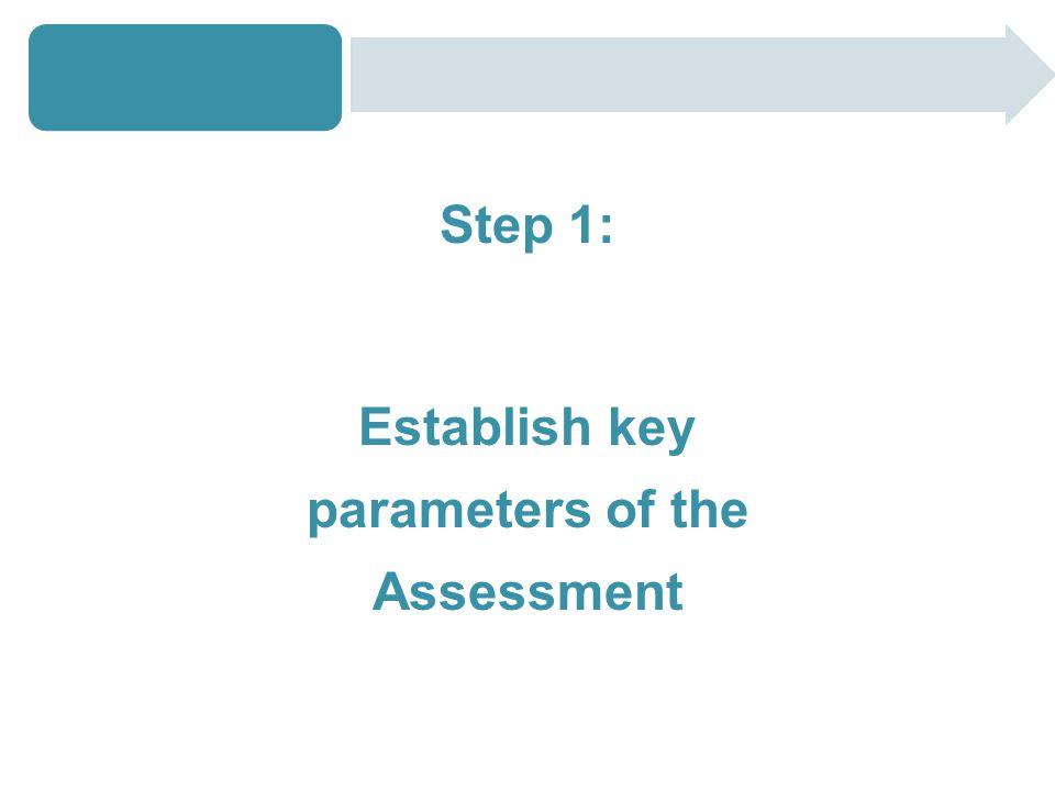 Step 1: Establish key parameters of the Assessment