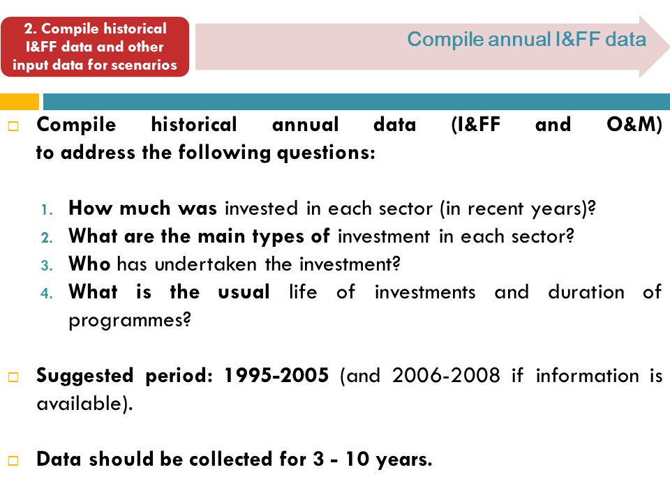  Compile historical annual data (I&FF and O&M) to address the following questions: 1.