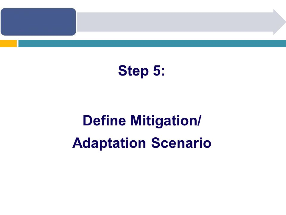 Step 5: Define Mitigation/ Adaptation Scenario
