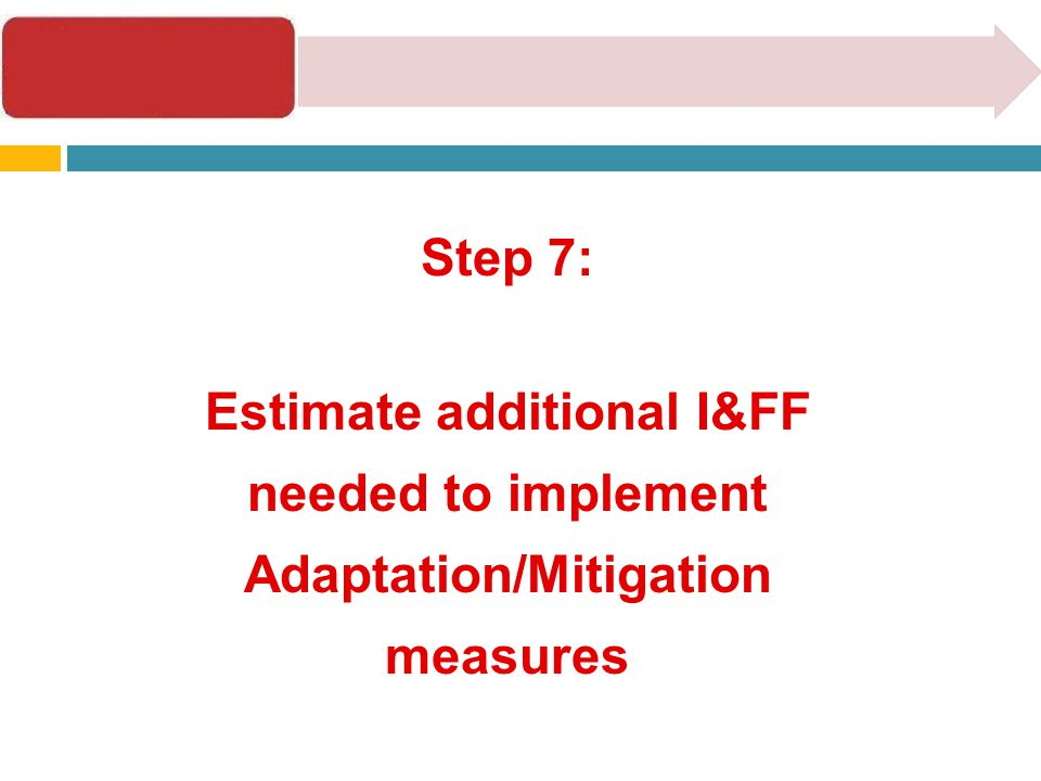 Step 7: Estimate additional I&FF needed to implement Adaptation/Mitigation measures