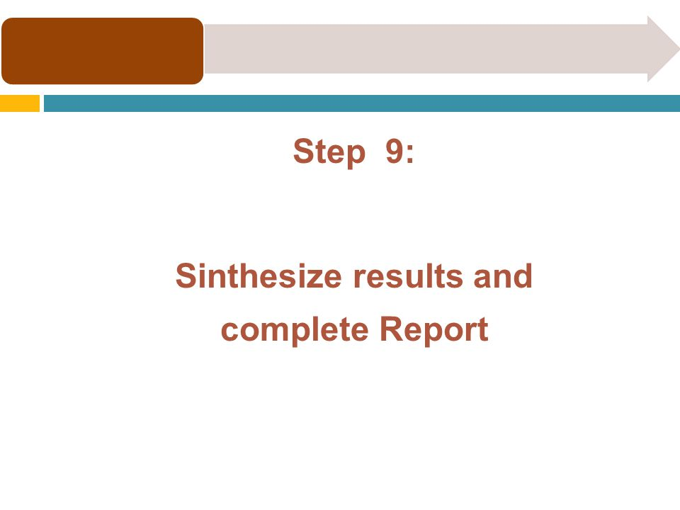 Step 9: Sinthesize results and complete Report