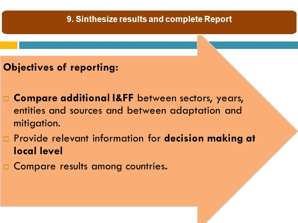 Objectives of reporting:  Compare additional I&FF between sectors, years, entities and sources and between adaptation and mitigation.
