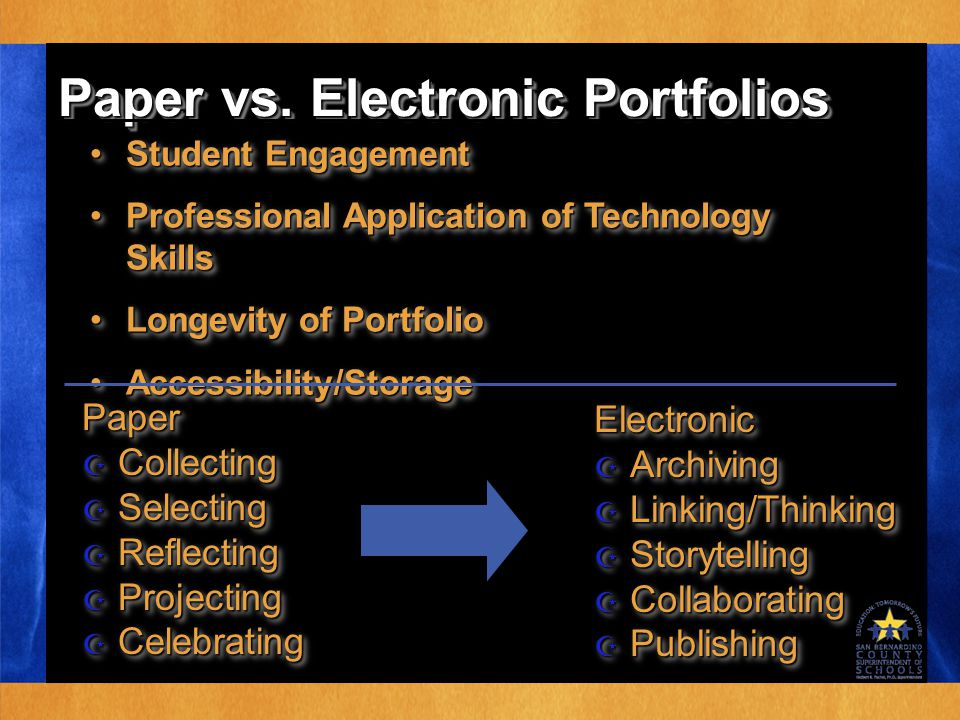 Paper vs. Electronic Portfolios Student EngagementStudent Engagement Professional Application of Technology SkillsProfessional Application of Technolo