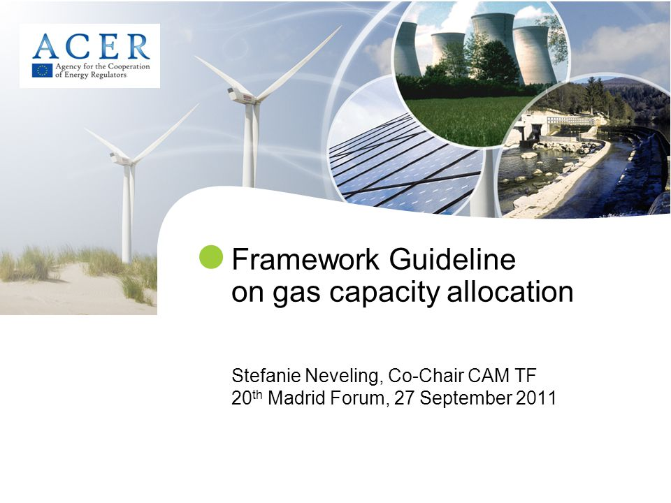 Framework Guideline on gas capacity allocation Stefanie Neveling, Co-Chair CAM TF 20 th Madrid Forum, 27 September 2011