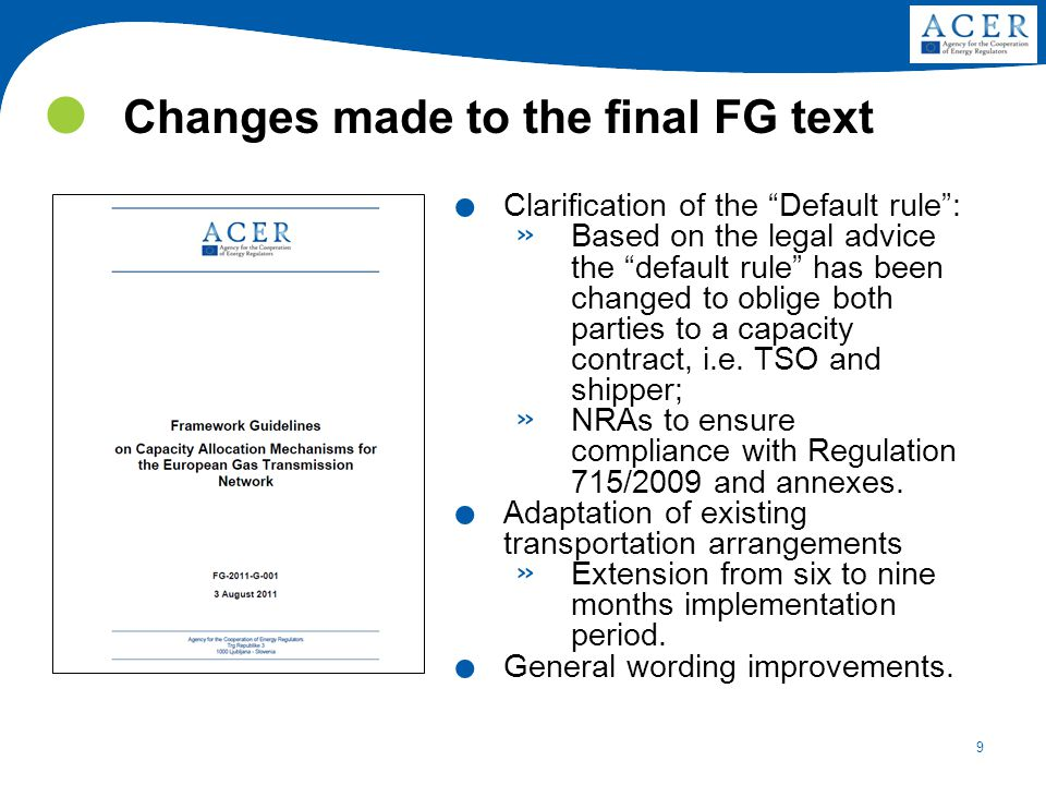 9 Changes made to the final FG text.