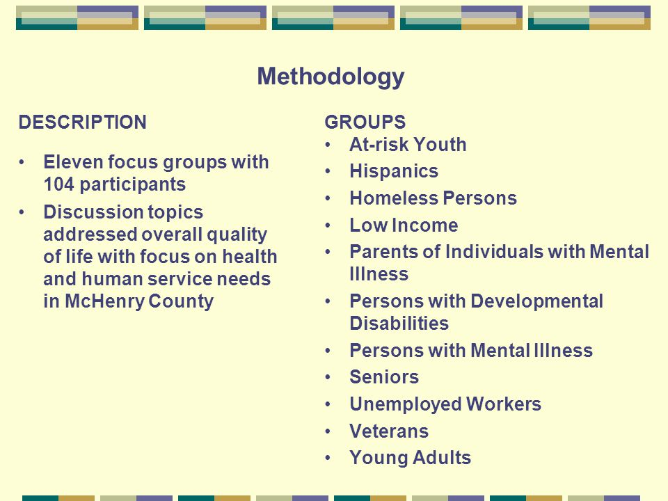 Methodology DESCRIPTION Eleven focus groups with 104 participants Discussion topics addressed overall quality of life with focus on health and human service needs in McHenry County GROUPS At-risk Youth Hispanics Homeless Persons Low Income Parents of Individuals with Mental Illness Persons with Developmental Disabilities Persons with Mental Illness Seniors Unemployed Workers Veterans Young Adults