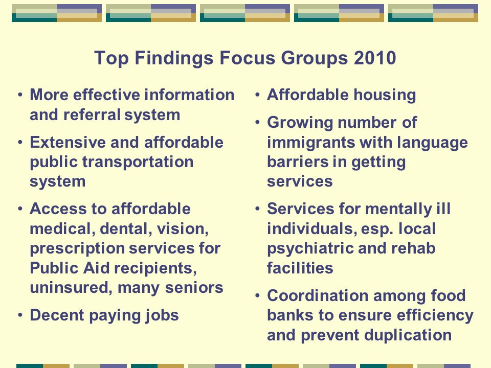 Top Findings Focus Groups 2010 More effective information and referral system Extensive and affordable public transportation system Access to affordable medical, dental, vision, prescription services for Public Aid recipients, uninsured, many seniors Decent paying jobs Affordable housing Growing number of immigrants with language barriers in getting services Services for mentally ill individuals, esp.