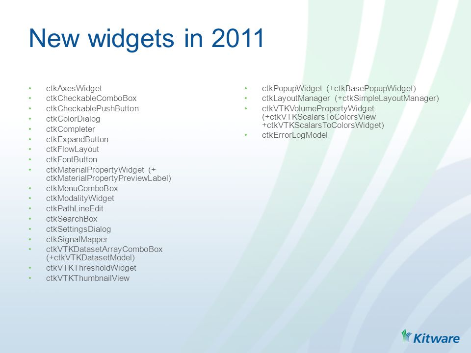 New widgets in 2011 ctkAxesWidget ctkCheckableComboBox ctkCheckablePushButton ctkColorDialog ctkCompleter ctkExpandButton ctkFlowLayout ctkFontButton