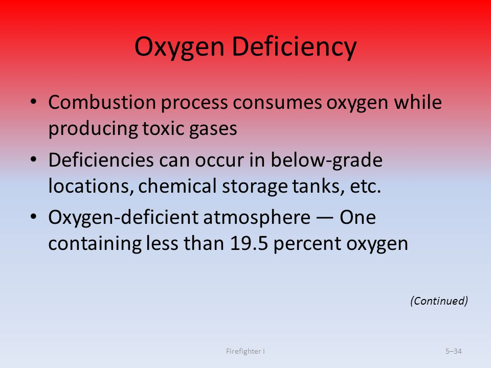 Firefighter I5–34 Oxygen Deficiency Combustion process consumes oxygen while producing toxic gases Deficiencies can occur in below-grade locations, ch