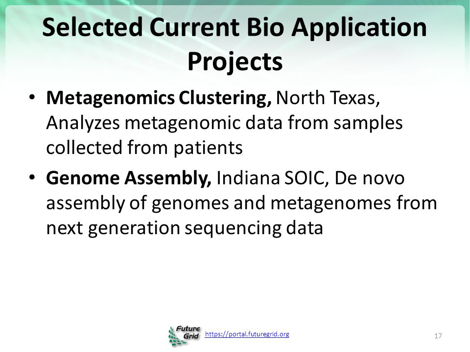 https://portal.futuregrid.org Selected Current Bio Application Projects Metagenomics Clustering, North Texas, Analyzes metagenomic data from samples collected from patients Genome Assembly, Indiana SOIC, De novo assembly of genomes and metagenomes from next generation sequencing data 17