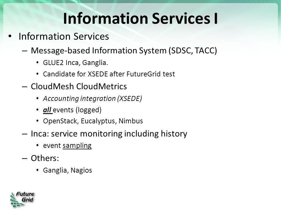 Information Services I Information Services – Message-based Information System (SDSC, TACC) GLUE2 Inca, Ganglia.
