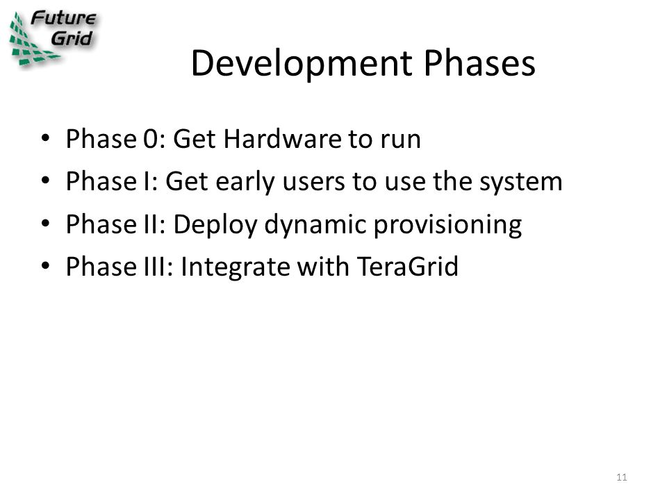 Development Phases Phase 0: Get Hardware to run Phase I: Get early users to use the system Phase II: Deploy dynamic provisioning Phase III: Integrate with TeraGrid 11