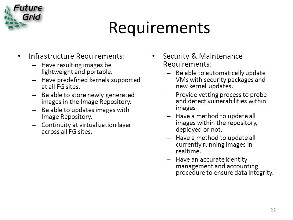 Requirements Infrastructure Requirements: – Have resulting images be lightweight and portable.