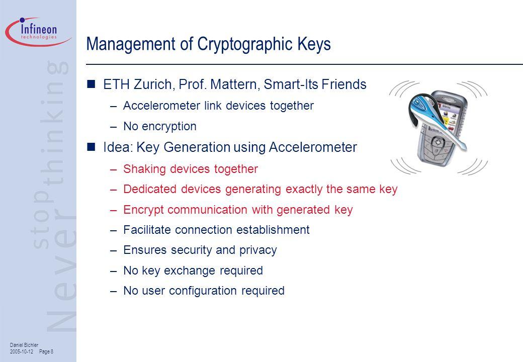 Daniel Bichler 2005-10-12 Page 8 Management of Cryptographic Keys ETH Zurich, Prof. Mattern, Smart-Its Friends –Accelerometer link devices together –N