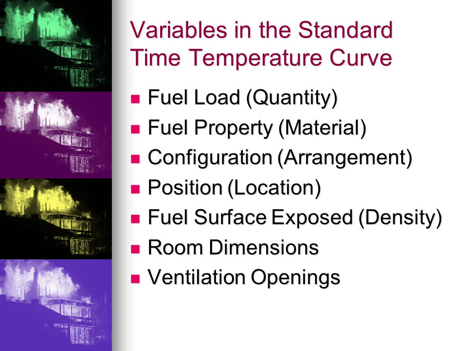 Variables in the Standard Time Temperature Curve Fuel Load (Quantity) Fuel Load (Quantity) Fuel Property (Material) Fuel Property (Material) Configuration (Arrangement) Configuration (Arrangement) Position (Location) Position (Location) Fuel Surface Exposed (Density) Fuel Surface Exposed (Density) Room Dimensions Room Dimensions Ventilation Openings Ventilation Openings