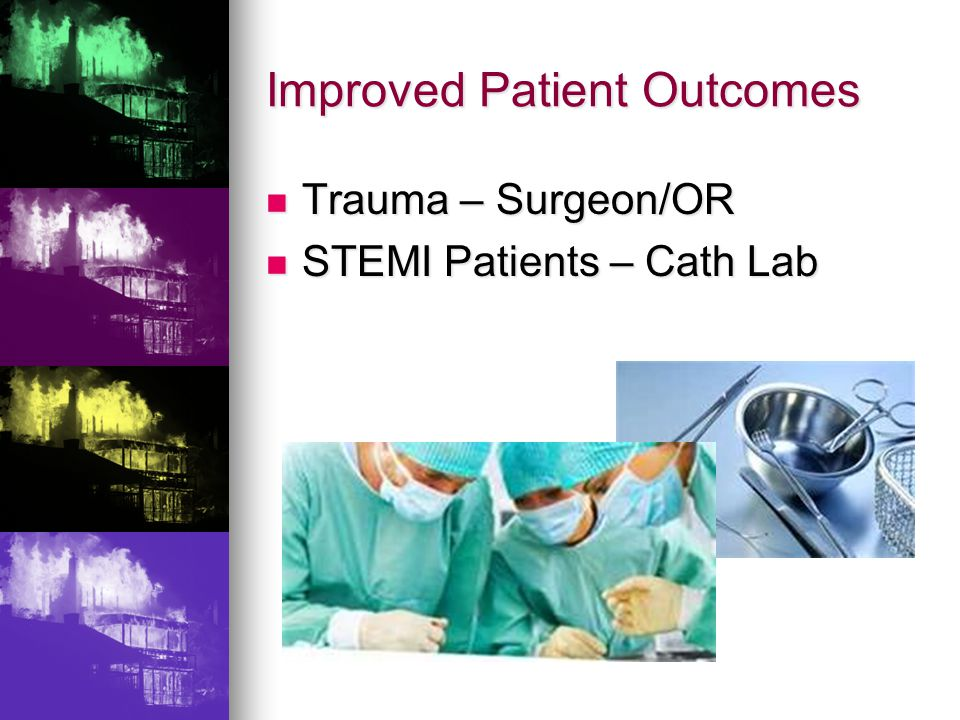 Trauma – Surgeon/OR Trauma – Surgeon/OR STEMI Patients – Cath Lab STEMI Patients – Cath Lab Improved Patient Outcomes