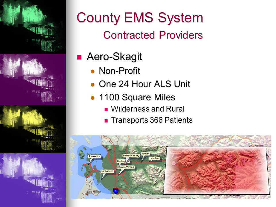 County EMS System Contracted Providers Aero-Skagit Aero-Skagit Non-Profit Non-Profit One 24 Hour ALS Unit One 24 Hour ALS Unit 1100 Square Miles 1100 Square Miles Wilderness and Rural Wilderness and Rural Transports 366 Patients Transports 366 Patients
