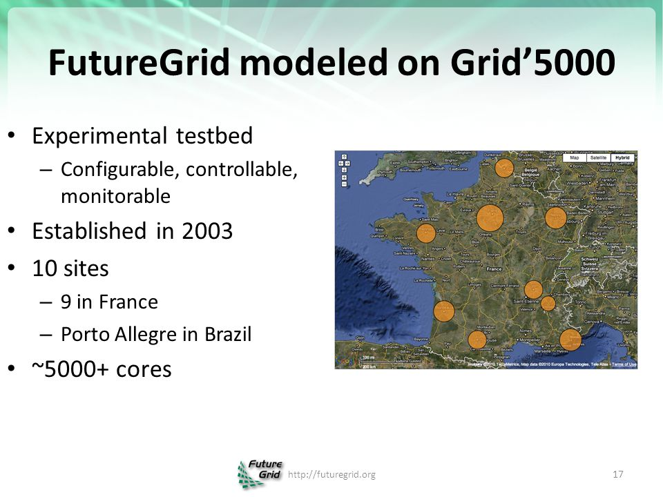 FutureGrid modeled on Grid'5000 Experimental testbed – Configurable, controllable, monitorable Established in 2003 10 sites – 9 in France – Porto Alle