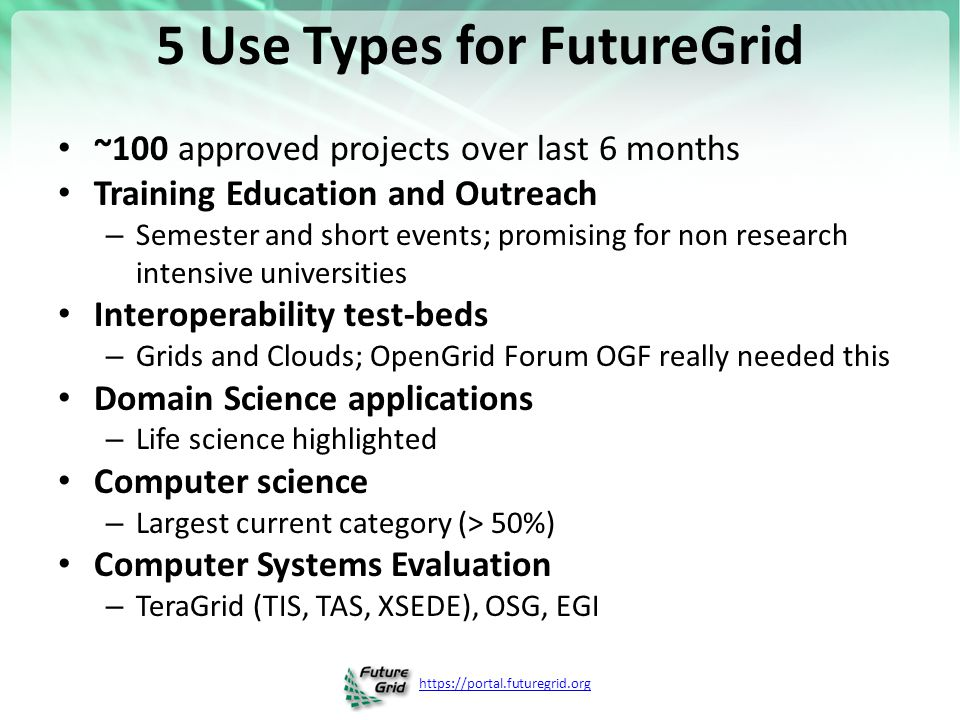 https://portal.futuregrid.org 5 Use Types for FutureGrid ~100 approved projects over last 6 months Training Education and Outreach – Semester and shor
