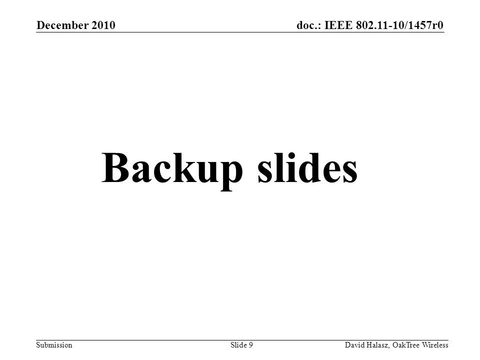 doc.: IEEE 802.11-10/1457r0 Submission December 2010 David Halasz, OakTree WirelessSlide 9 Backup slides