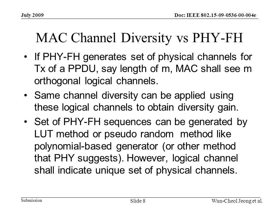 Submission Doc: IEEE 802.15-09-0536-00-004eJuly 2009 Wun-Cheol Jeong et al.Slide 8 MAC Channel Diversity vs PHY-FH If PHY-FH generates set of physical channels for Tx of a PPDU, say length of m, MAC shall see m orthogonal logical channels.