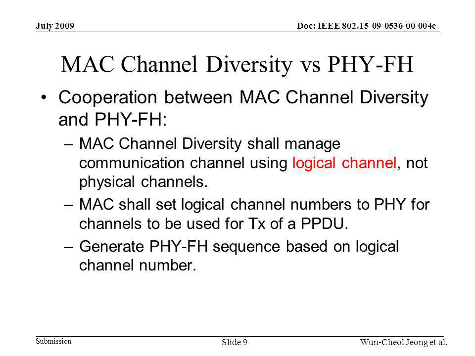 Submission Doc: IEEE 802.15-09-0536-00-004eJuly 2009 Wun-Cheol Jeong et al.Slide 9 MAC Channel Diversity vs PHY-FH Cooperation between MAC Channel Diversity and PHY-FH: –MAC Channel Diversity shall manage communication channel using logical channel, not physical channels.