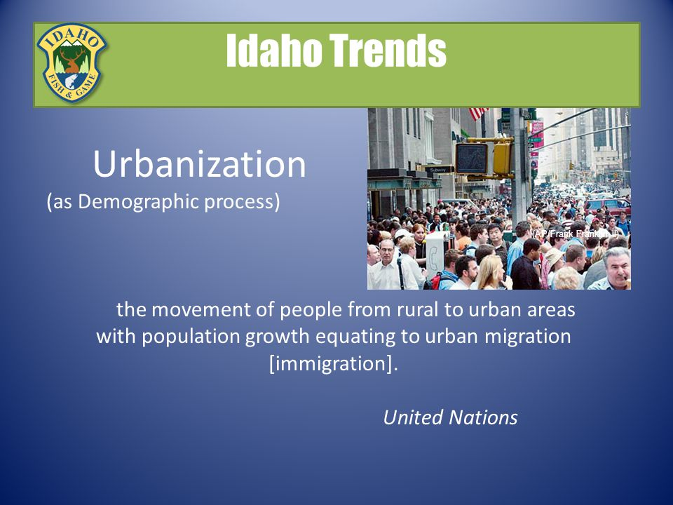 Urbanization (as Demographic process) the movement of people from rural to urban areas with population growth equating to urban migration [immigration].