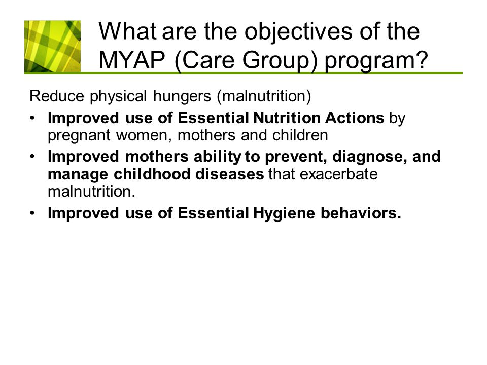 What are the objectives of the MYAP (Care Group) program.
